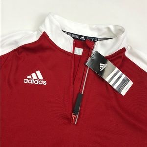 Adidas Red White Knit 1/4 ZIP Pullover